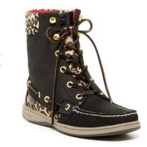 Sperry Topsider Leopard Hikerfish Boots Black 5.5